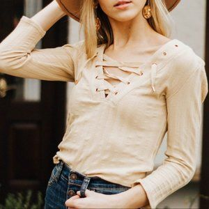 NEW Free People Ice Cold Lace Up Top Sun Fade Sz L